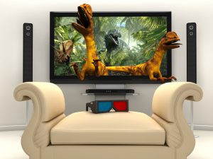 3D LCD TV with dinosaurs walking out of the screen.